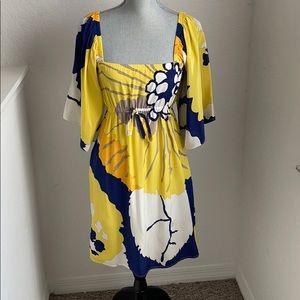 Yumi Kim yellow Kimono silk Midi dress size Small